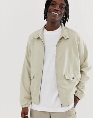 ASOS DESIGN Oversized Harrington Jacket in Stone