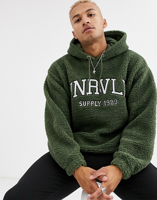 ASOS DESIGN oversized hoodie in teddy borg with varsity style embroidery in green