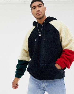 ASOS DESIGN oversized hoodie with colour blocking in borg