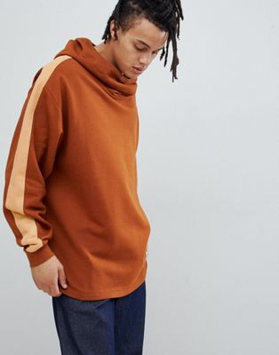 ASOS DESIGN oversized hoodie with slouch neck and side stripe