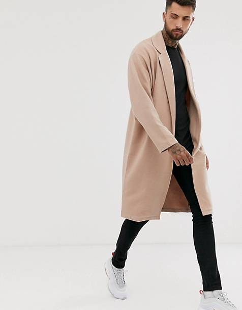 ASOS DESIGN oversized jersey duster in beige ribbed fabric