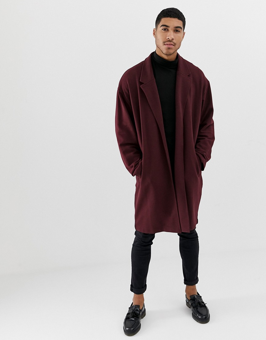 Asos Design Oversized Jersey Duster Jacket In Burgundy by Asos Design