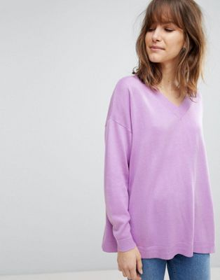 ASOS DESIGN oversized jumper with v neck in eco yarn