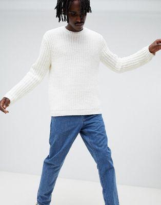 Image 1 of ASOS DESIGN oversized knitted chenille jumper in white
