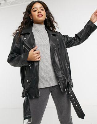 ASOS DESIGN 90's mum leather jacket in black - ASOS Price Checker