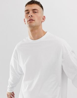 Image 1 of ASOS DESIGN oversized long sleeve t-shirt with crew neck in white