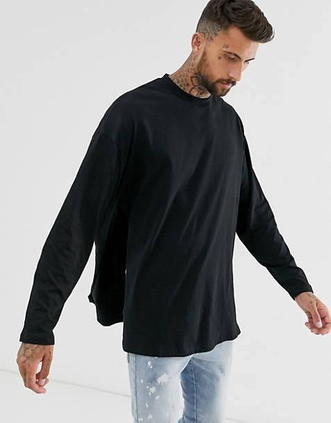 ASOS DESIGN oversized long sleeve t-shirt with extreme side splits in black