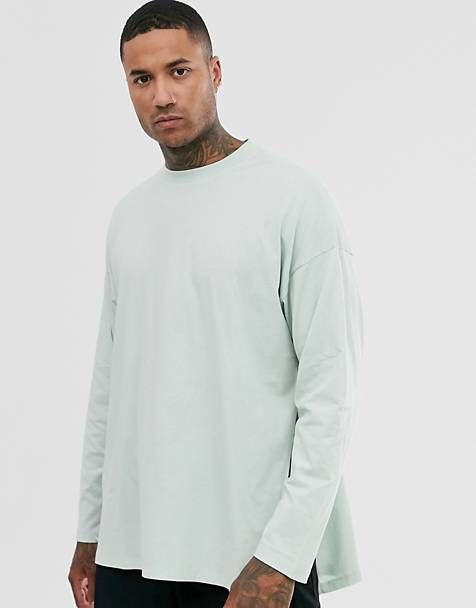 ASOS DESIGN oversized long sleeve t-shirt with extreme side splits in pale green
