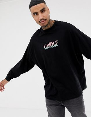 Image 1 of ASOS DESIGN oversized long sleeve t-shirt with unique text print
