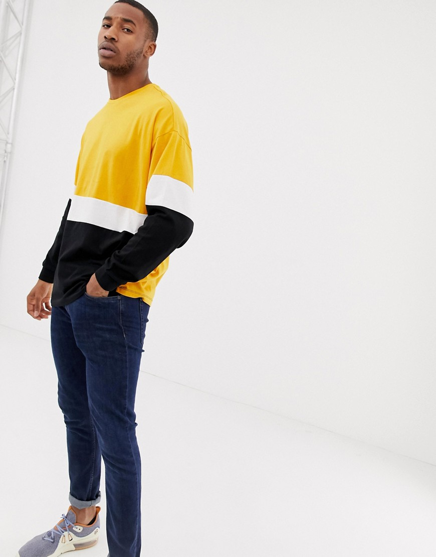 Asos Design Oversized Longline Long Sleeve T Shirt With Colour Block In Yellow by Asos Design