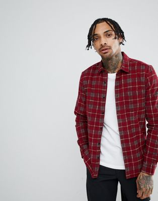 ASOS DESIGN Oversized Printed Cord Check Shirt