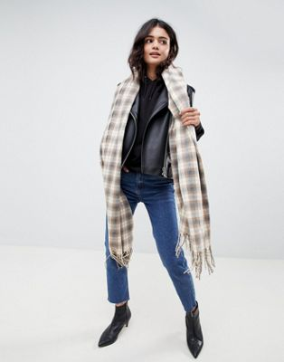 ASOS DESIGN oversized scarf in natural check with tassels