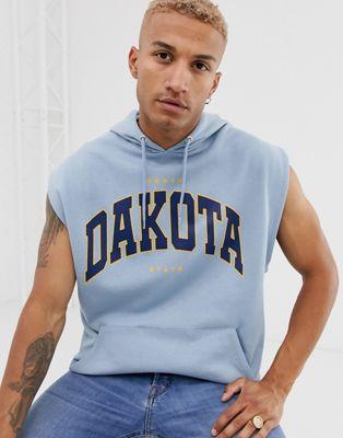 ASOS DESIGN oversized sleeveless hoodie with collegiate city print