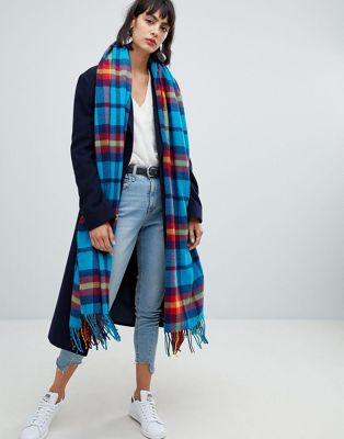ASOS DESIGN oversized square scarf in bright blue check