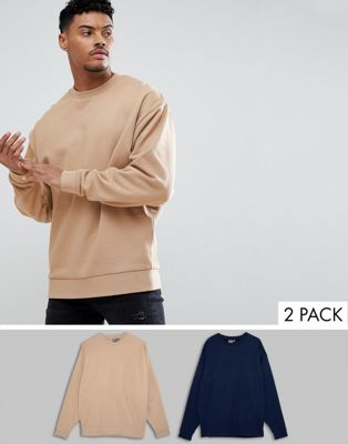 ASOS DESIGN oversized sweatshirt 2 pack navy/beige