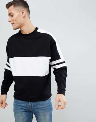 ASOS DESIGN Oversized Sweatshirt In Black With Colour Blocking