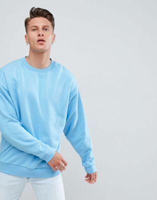 ASOS DESIGN oversized sweatshirt in blue