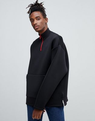 Image 1 of ASOS DESIGN oversized sweatshirt in scuba with half zip