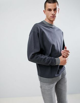 ASOS DESIGN Oversized Sweatshirt In Washed Black With Tipping