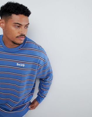 ASOS DESIGN oversized sweatshirt with retro stripes and embroidery