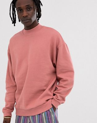 Image 1 of ASOS DESIGN oversized sweatshirt with turtleneck in pink