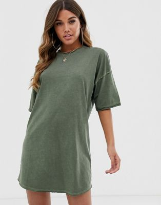 ASOS DESIGN oversized t-shirt dress with raw edge