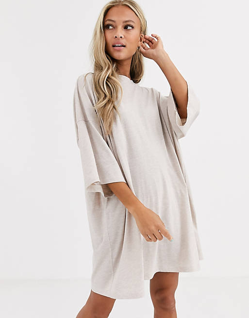 Asos Design Oversized T Shirt Kleid In Hafermehl Asos