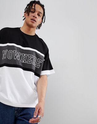 Afbeelding 1 van ASOS DESIGN - Oversized T-shirt met kleurvlakken en tekstprint