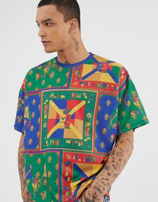 Image 1 of ASOS DESIGN oversized t-shirt with all over print