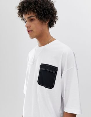 Image 1 of ASOS DESIGN oversized t-shirt with half sleeve and pocket with contrast stitching