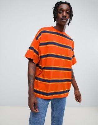 Image 1 of ASOS DESIGN oversized t-shirt with orange retro stripe