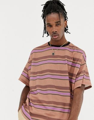 Image 1 of ASOS DESIGN oversized t-shirt with retro stripe on textured jersey