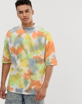 Image 1 of ASOS DESIGN oversized t-shirt with wide turtleneck in heavyweight fabric in bright spot tie dye wash