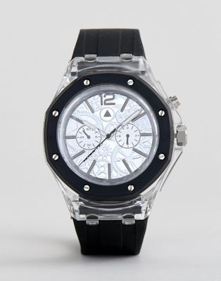 Image 1 of ASOS DESIGN Oversized Transparent Watch With Contrast Strap And Exposed Cogs