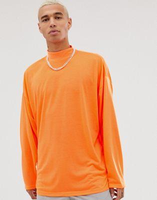 ASOS DESIGN oversized turtleneck t-shirt with long sleeves in neon orange