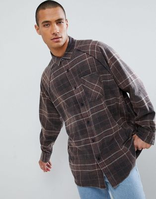 ASOS DESIGN oversized vintage look check shirt with ranglan sleeve in brown