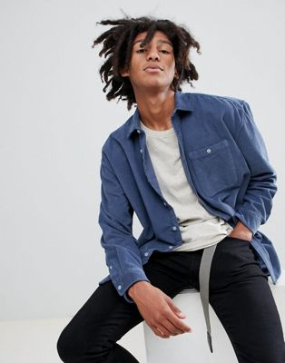Image 1 of ASOS DESIGN oversized washed cord shirt in blue