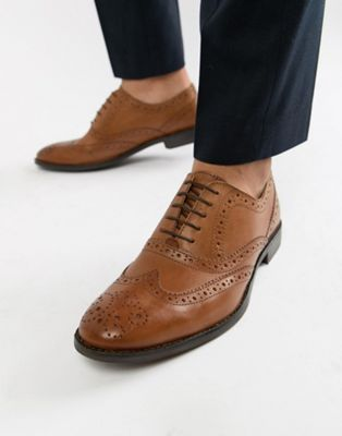 ASOS DESIGN oxford brogue shoes in tan leather