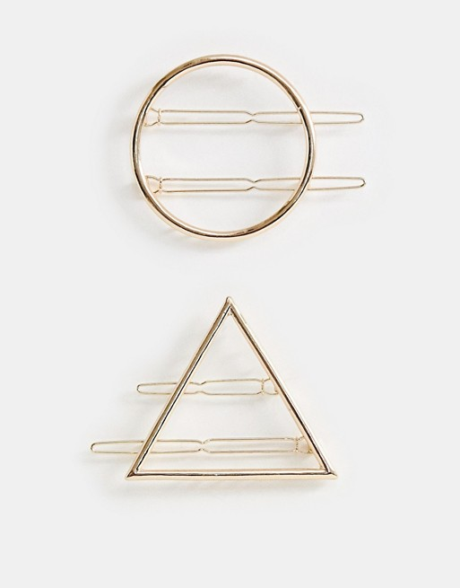 Image 1 of ASOS DESIGN pack of 2 barette hair clips in circle and triangle in gold
