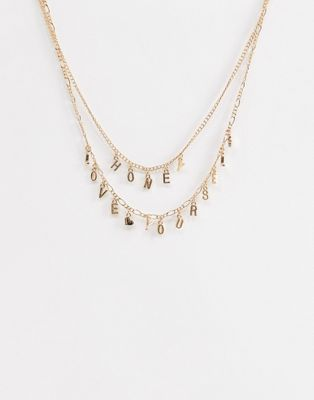 ASOS DESIGN pack of 2 necklaces with cute slogan in gold