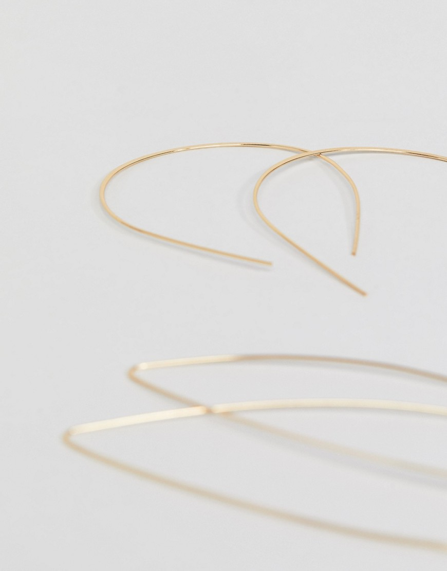 Asos Design Pack Of 2 Pull Through Earrings In In Gold by Asos Design