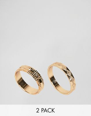 ASOS DESIGN pack of 2 rings with engraved detail in gold