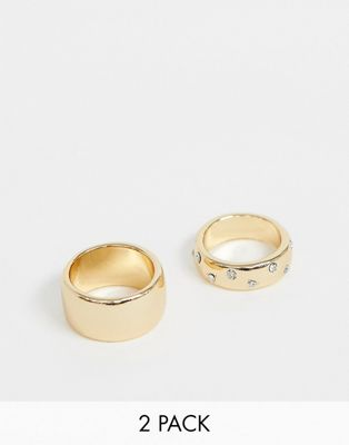 ASOS DESIGN pack of 2 rings with thick band design in plain and crystal in gold