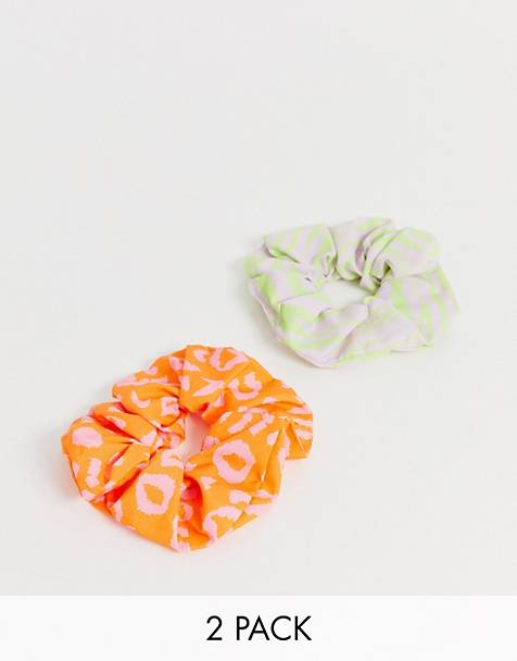 ASOS DESIGN pack of 2 scrunchies in color animal print