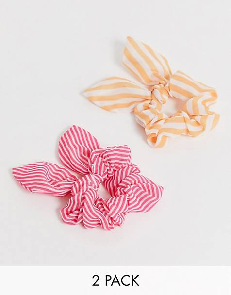 ASOS DESIGN pack of 2 scrunchies in stripe print