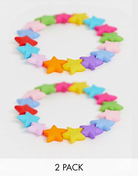 ASOS DESIGN pack of 2 stretch bracelets with plastic star beads