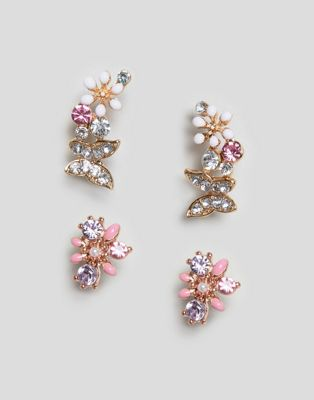 ASOS DESIGN pack of 2 stud earrings with butterfly and floral design in gold