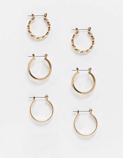 ASOS DESIGN pack of 3 20mm hoop earrings in gold
