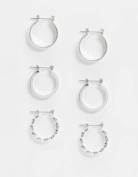 ASOS DESIGN pack of 3 20mm hoop earrings in silver