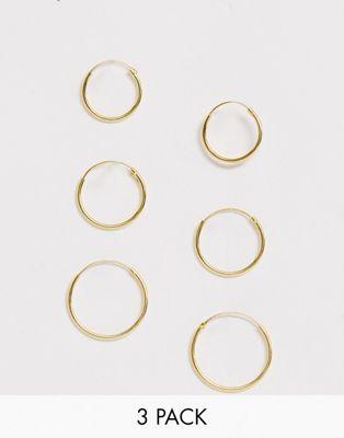 Image 1 of ASOS DESIGN pack of 3 gold plated sterling silver hoop earrings